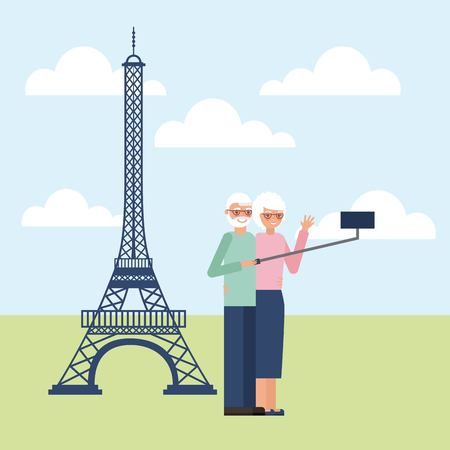 grandparents day older couple in paris taking photos vector illustration