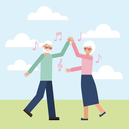 grandparents day happy old couple dancing icons music vector illustration