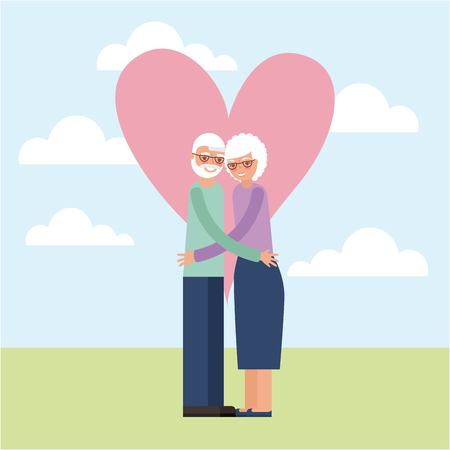 grandparents day cute happy older couple embraced vector illustration