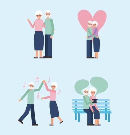 grandparents day happy older couple dancing sitting speaking love embraced vector illustration
