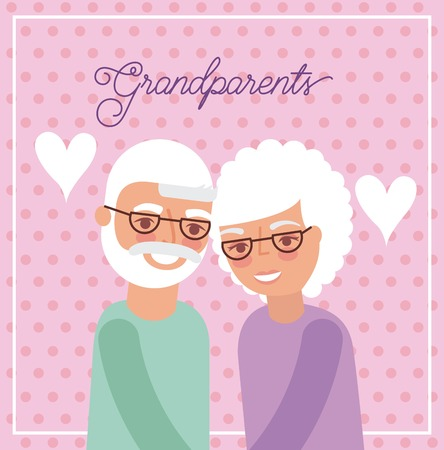 grandparents day pink dotted background heart older couple embraced vector illustration