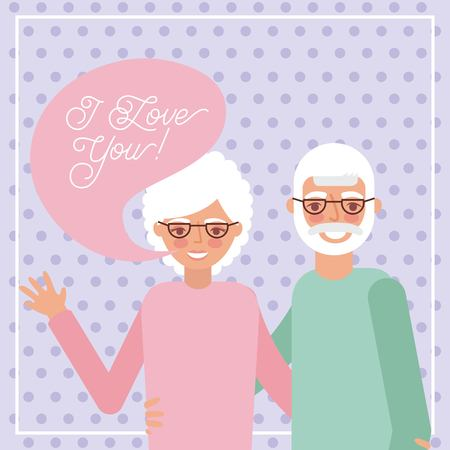 grandparents day dotted background older couple smiling greeting vector illustration Ilustrace