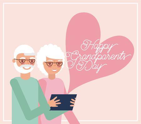 grandparents day heart sign love grandfather holding tablet vector illustration Illustration