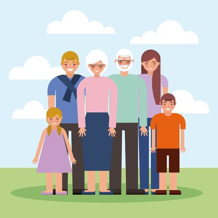 grandparents day happy family enjoying outdoor smiling vector illustration