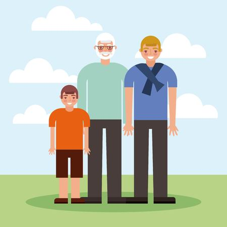 grandparents day grnadfather with grandchildrens smiling vector illustration Foto de archivo - 112301637