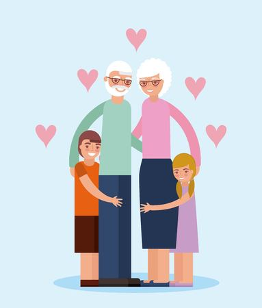 grandparents day love hearts embraced older couple with grandchildrens vector illustration