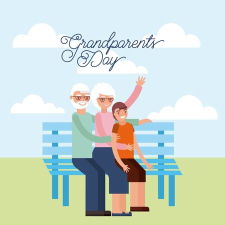grandparents day older couple sitting park with nephew clouds outdoor vector illustration