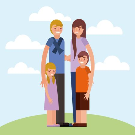 grandchildrens embraced smiling outdoor clouds vector illustration