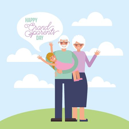 grandparents day outdoor older couple holding nephew happy vector illustration