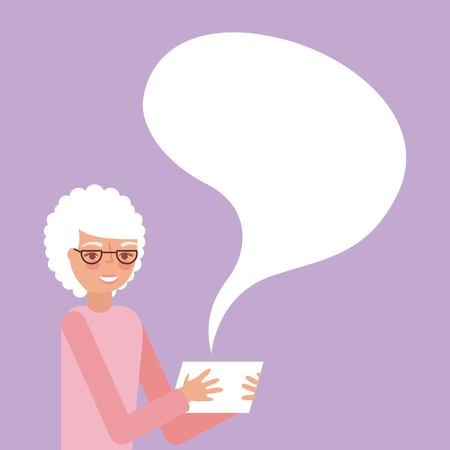 grandparents day cute grandma holding tablet speak with glasses vector illustration