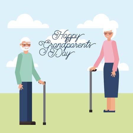 grandparents day older couple in the park holding walking stick vector illustration Ilustração
