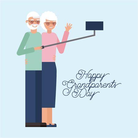 grandparents day older couple smiling holding selfie photo vector illustration Иллюстрация