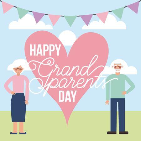 grandparents day colors pennants decoration heart sign older couple smiling vector illustration