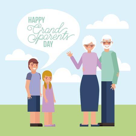 grandparents day older couple with grandchildrens outdoor smiling vector illustration Ilustração