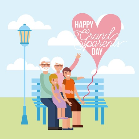 grandparents day happy older couple sitting with grandchildrens heart sign park vector illustration
