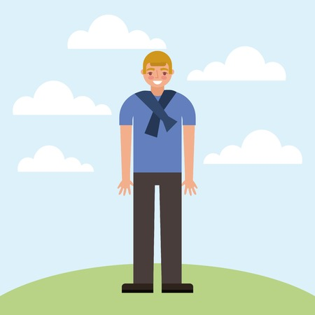 cute boy smiling in the park outdoor clouds vector illustration Illustration