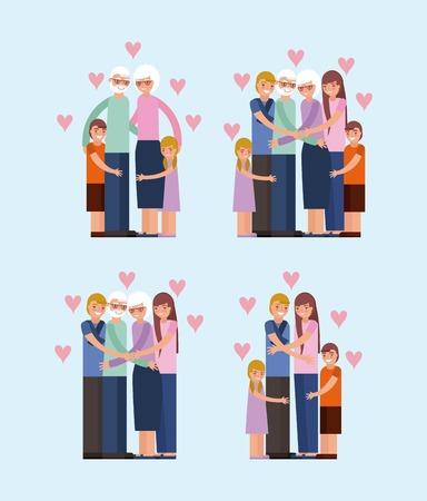 grandparents day happy familys embraced love hearts vector illustration Illustration