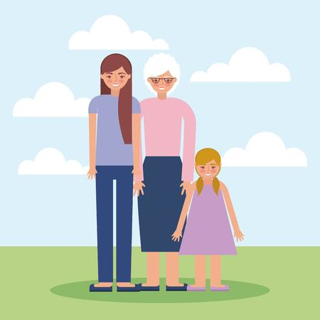 grandparents day grandchildren with grandma standing outdoor vector illustration Иллюстрация
