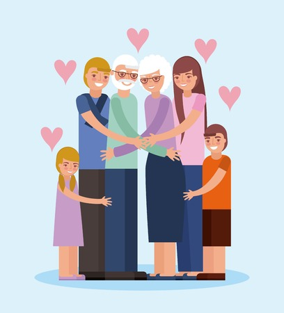 grandparents day happy family embraced older couple love hearts vector illustration
