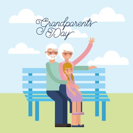grandparents day older couple sitting in the park greeting vector illustration