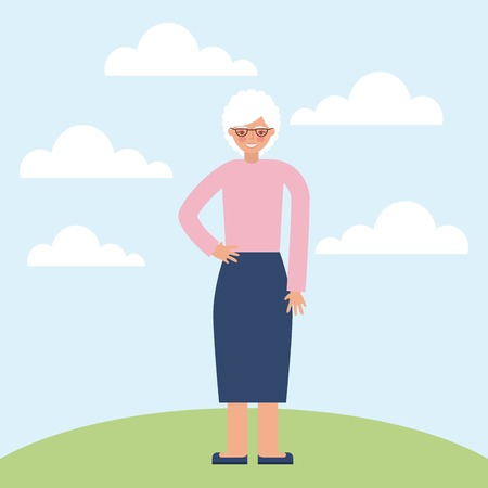 grandparents day grandma with hand on the hip vector illustration Illustration