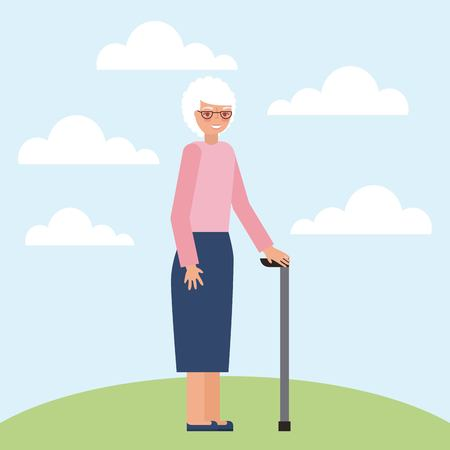 grandparents day grandmother holding walking stick clouds outdoor vector illustration