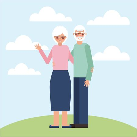 grandparents day old couple greeting happy smiling outdoor vector illustration