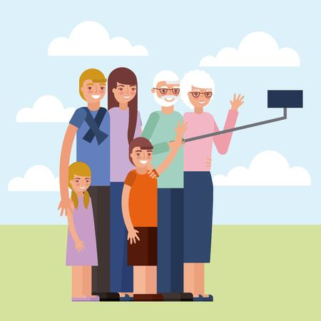 grandparents day cute older couple taking selfie photo grandchildrens vector illustration Foto de archivo - 112301663