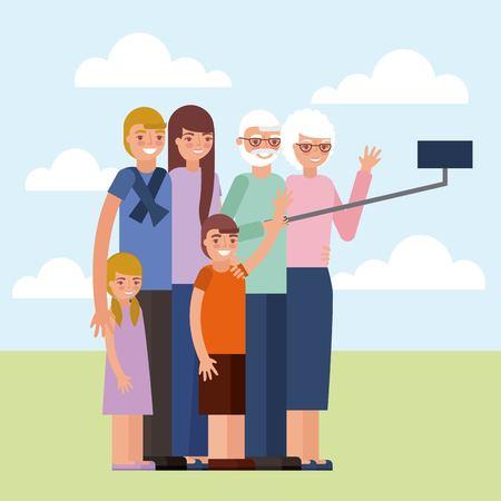 grandparents day cute older couple taking selfie photo grandchildrens vector illustration