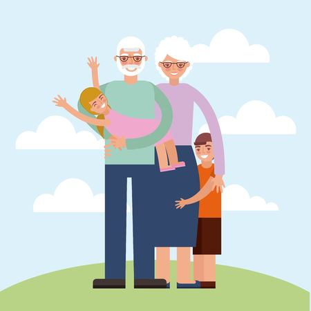 grandparents day happy older couple holding nephew grandchildrens in the park vector illustration