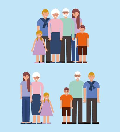 grandparents day older couple with family grandchildrens smiling vector illustration