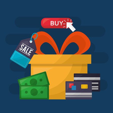 online shopping color gift box buy sale money credit cards vector illustration