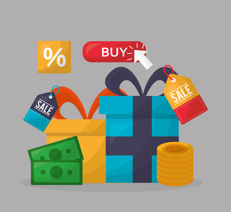 online shopping gift boxes colors coins money buy vector illustration Çizim