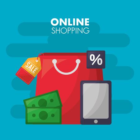 online shopping red handbag shop smartphone money porcent sticker vector illustration