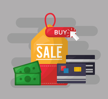 online shopping sale ticket buy money credit cards vector illustration