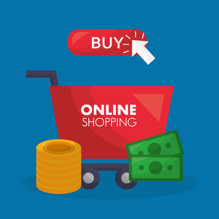 online shopping red card buy things money coins vector illustration