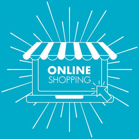 online shopping blue grunge style store vector illustration Ilustração