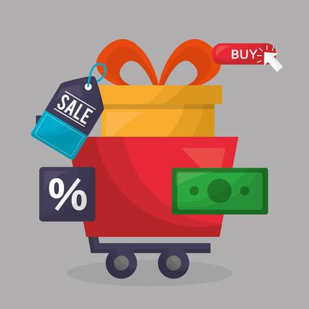 Compras en línea caja de regalo carro dinero porcent venta pegatina ilustración vectorial