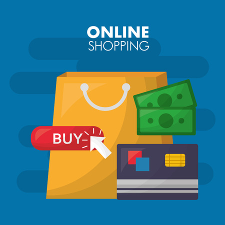 online shopping handbag label buy sign arrow pointed monet credit card vector illustration Illustration
