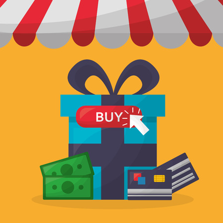 online shopping pennant gift box money credit card buy vector illustration Stok Fotoğraf - 112301694