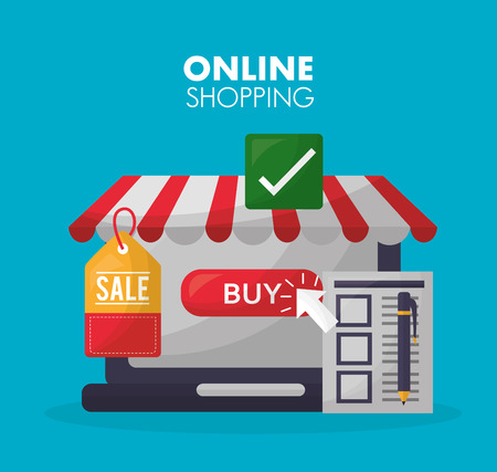 online shopping store shop buy ticket sale list vector illustration Çizim