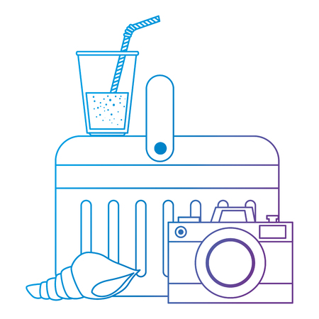 cooler with camera and drink vector illustration design