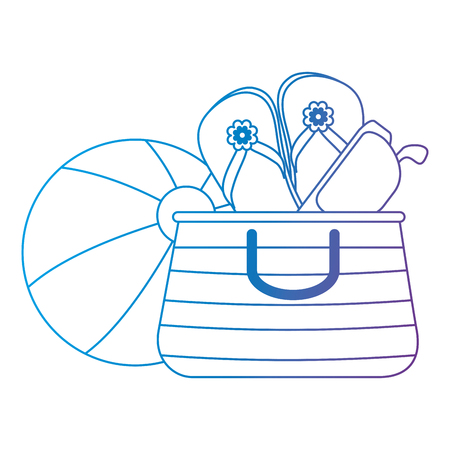 summer vacations bag with sandals and balloon vector illustration design