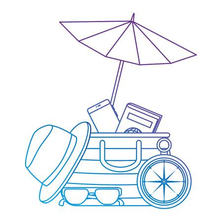 umbrella beach with vacations accessories vector illustration design