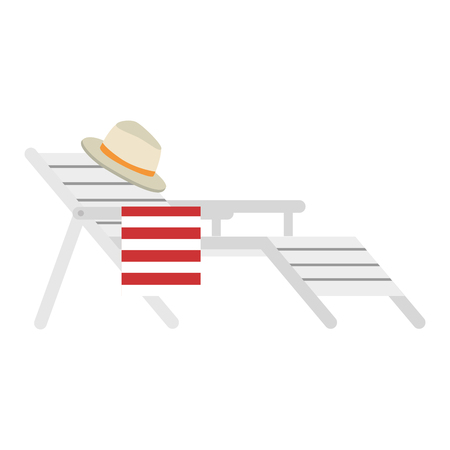wooden beach chair with hat vector illustration design