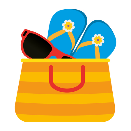 summer vacations bag with sandals and sunglasses vector illustration design Illusztráció