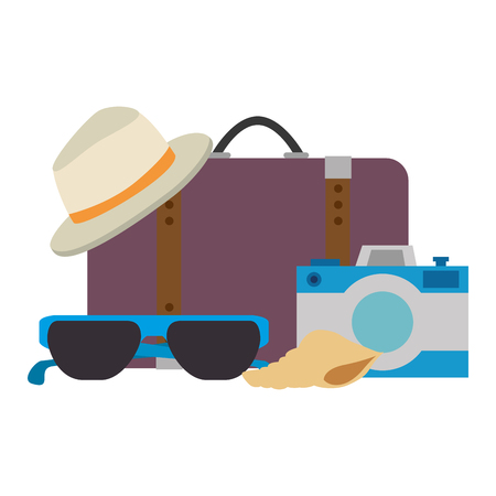 suitcase travel with vacations accessories vector illustration design Illustration