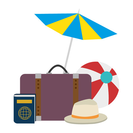 umbrella beach with vacations accessories vector illustration design 写真素材 - 112282486