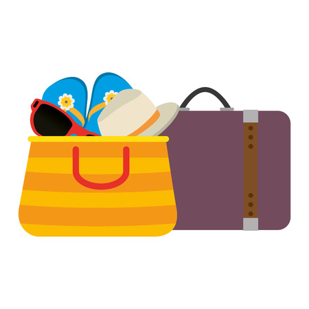 summer vacations bag with suitcase and sunglasses vector illustration design Illustration