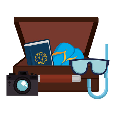 suitcase with camera and snorkel vector illustration design Banque d'images - 105739884